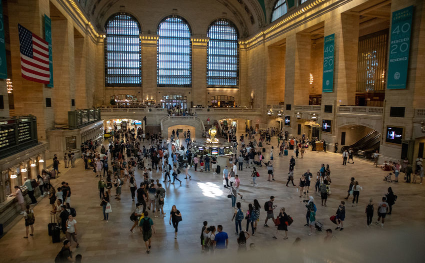 Grand Central Station New York City Arch Architectural Column Architecture Built Structure City City Life Crowd Group Of People History Illuminated Indoors  Large Group Of People Men Motion Real People The Past Tourism Travel Travel Destinations