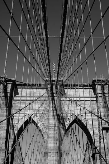 Aroundtheworld Brooklyn Brooklyn Bridge  Brooklyn Bridge / New York Manhattan New York New York City Architecture Black And White Blackandwhite Bridge Bridge - Man Made Structure Built Structure City Day Low Angle View Outdoors Sky Stars And Stripes Suspension Bridge