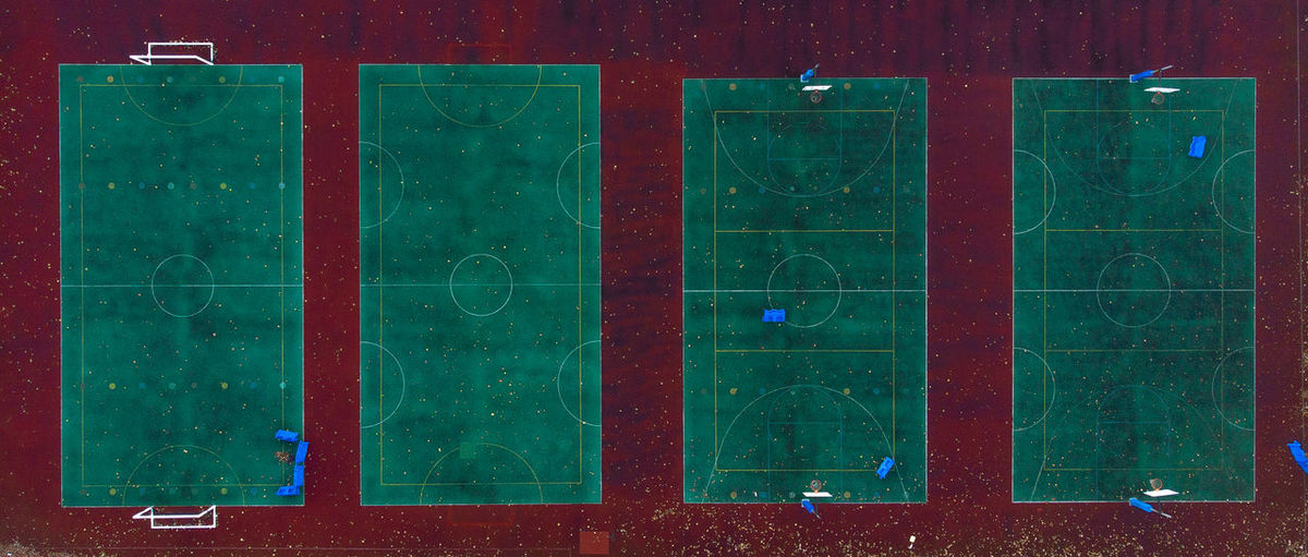 Aerial view of soccer fields