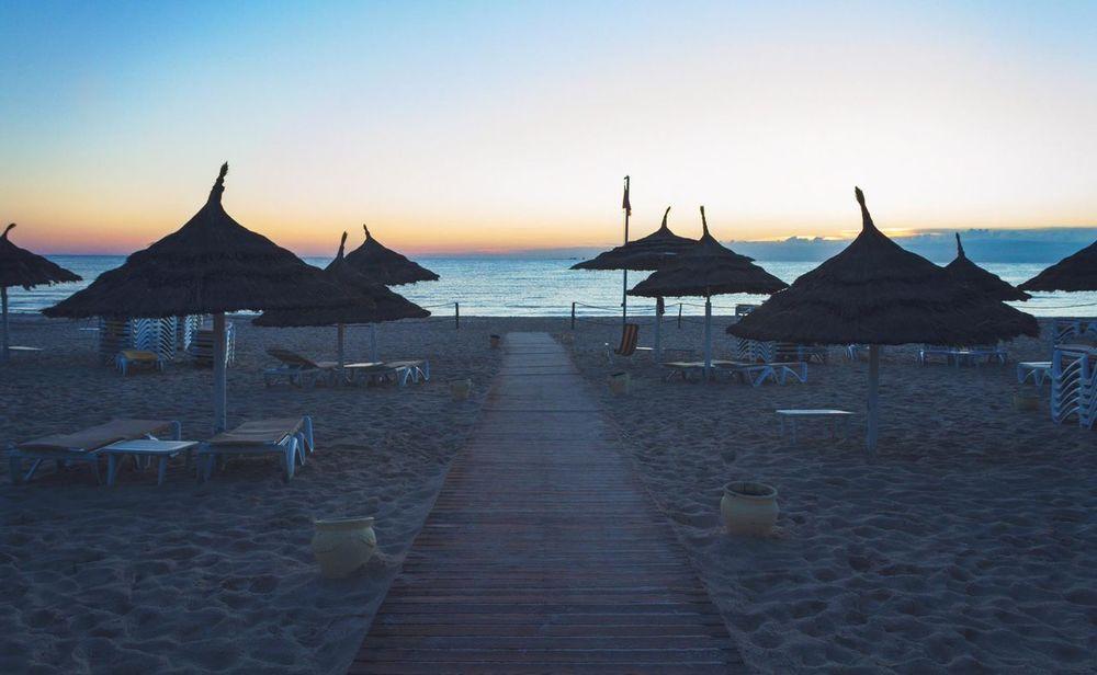Beach Dawn Horizon Over Water Parasol Relaxing Moments Sand Sea Sky Spirituality Tunisia Vacations