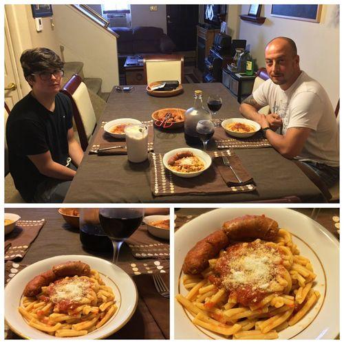 Tonight, I made casarecce with hot Italian sausage. Served with my homemade 2014 Italian Amarone wine. LaFamilia ICanCookMyAssOff ItsAnItalianThing Gravy Pasta HomemadeItalianWine Nomnombomb Food Porn Awards MyFoodPics Food Porn