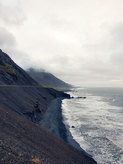 Iceland Coast Route 1 Water Sea Beach Sky Horizon Over Water Cloud - Sky Seascape Rocky Coastline Coastline Rugged Ocean Wave