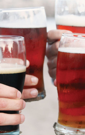 Cropped Hands Of People Toasting Beer Glasses