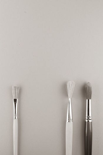 paintbrushes Brush Choice Close-up Copy Space Group Of Objects Indoors  No People Paintbrush Side By Side Silver Colored Simplicity Single Object Still Life Studio Shot Table Three Objects Two Objects Variation Wall - Building Feature White Background White Color