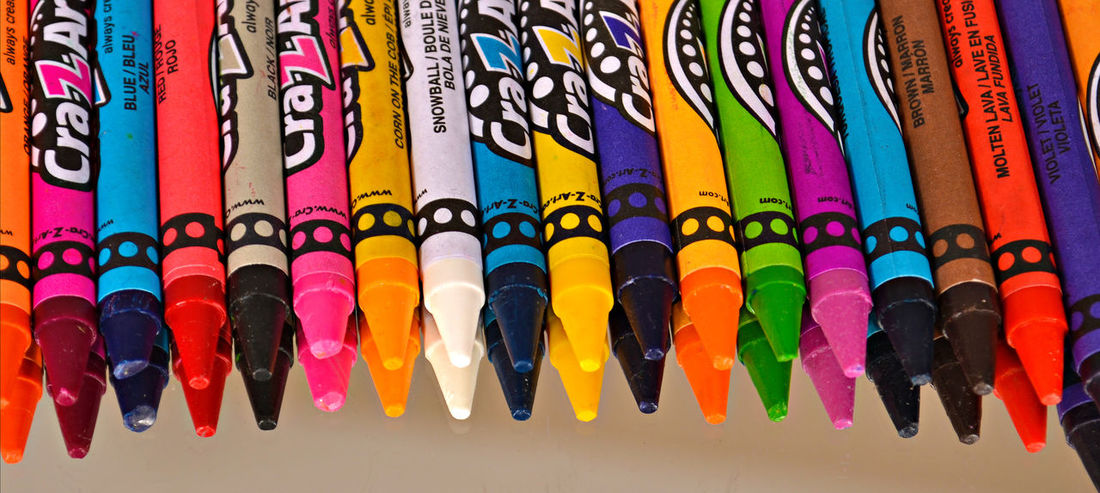 Arrangement Childs Toy Close-up Colorful Crayons Large Group Of Objects Multi Colored No People Order Toy