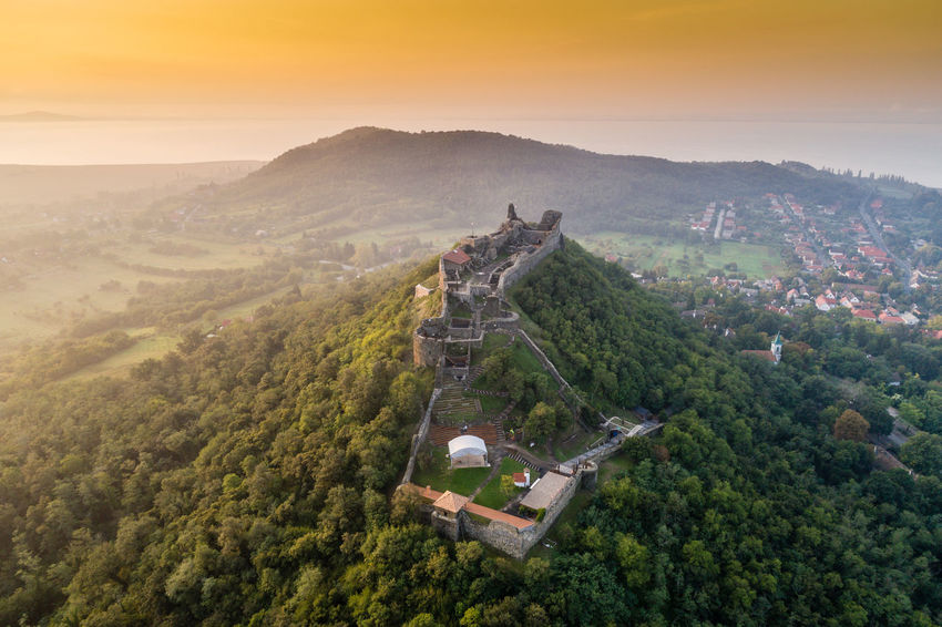 Beautiful fortress of Szigliget, Hungary Aerial Photo Badacsony Castle Drone  Hungary Rock Szigliget Castle Aerial Photography Balaton Bastion Beauty In Nature Catle Citadel Dronephotography Famous Place Fortification Fortress Hill Medival Monument Mountain Ruin Stronghold Stronghold Tower Szigliget