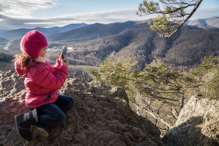 Girl photographing nature Black Mountain Kitsuma Trail Mountain View North Carolina Travel Adventure Childhood Girl Landscape One Person Outdoors Overlook Ridgecrest Selfie An Eye For Travel The Great Outdoors - 2018 EyeEm Awards
