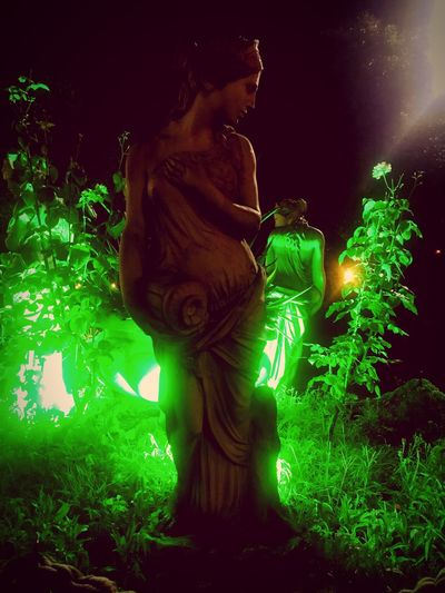 Illuminated Representation Night Art And Craft No People Human Representation Low Angle View Sculpture Green Color Nature Creativity Celebration Christmas Decoration Holiday Outdoors Decoration Statue Male Likeness Lighting Equipment Ornate EyeEmNewHere Autumn Mood 50 Ways Of Seeing: Gratitude Holiday Moments A New Perspective On Life 2018 In One Photograph My Best Photo