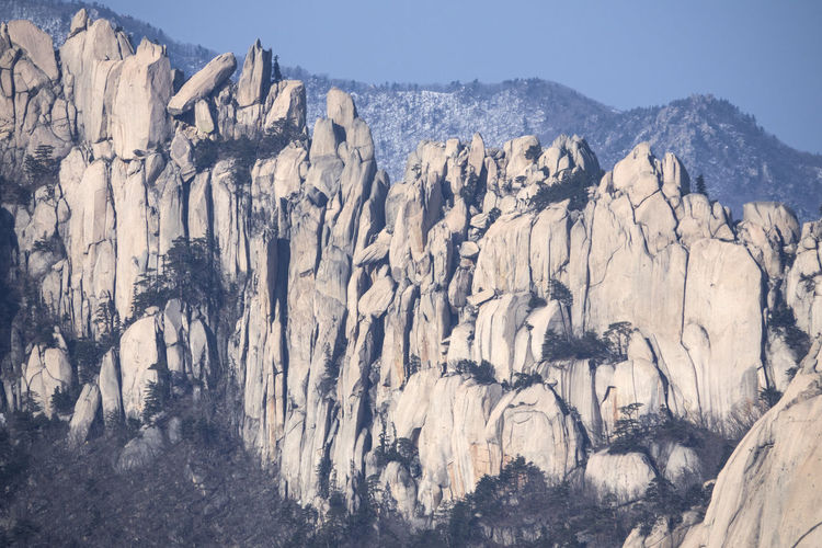 Low Angle View Of Snow On Rocky Mountain At Seoraksan National Park