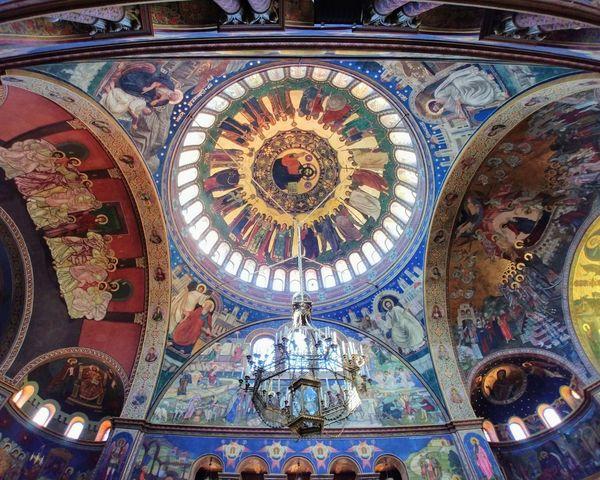 Low Angle View Ornate Multi Colored Religion Cupola Rumania
