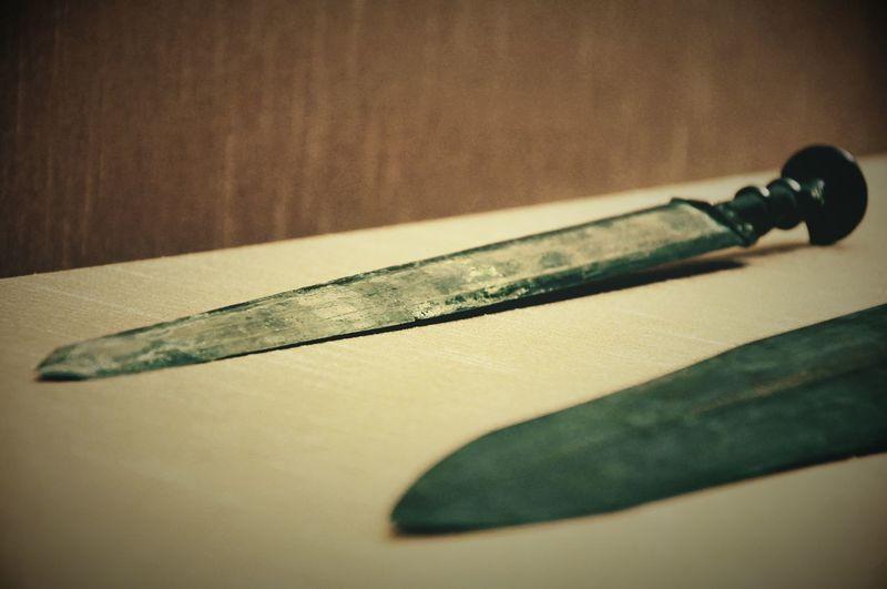剑 Chinese bronze sword in Spring and autumn and Warring states period, from 770 B.C. to 221 B.C.. Bronze Museum Object Photography Sword Indoors  No People Close-up Studio Shot
