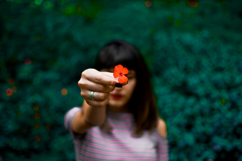 Young Woman Holding Red Flower While Standing Against Plants