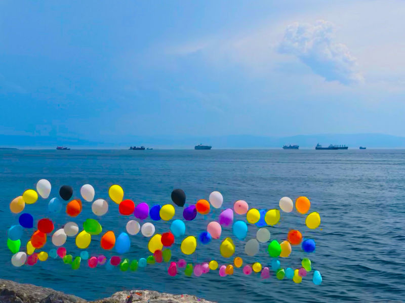 Balloons on the Pendik waterfront, looking out over the Sea of Marnara Balloons Horizon Over Water Nautical Vessel No People Scenics - Nature Sea Water Waterfront