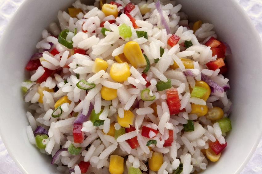 Rice and vegetables salad .Red and green bell peppers, corn grains, onion and scallion. Directly above closeup. Diet Natural Light Vegetarian Food Bowl Close-up Colourful Salad Directly Above Food Food And Drink Fresh Salad  Freshness Healthy Eating Healthy Lifestyle No People Ready-to-eat Studio Photography Summer Salad Vegan Food White Napkin