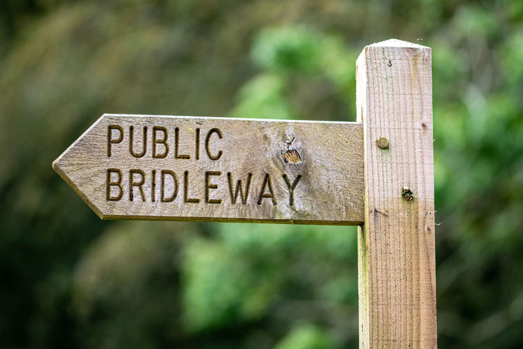 Public bridleway wooden sign post