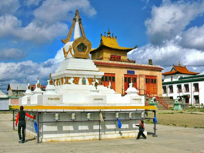 Religion Architecture Travel Destinations Spirituality Place Of Worship Cultures People Day Built Structure Cloud - Sky History Praying Wheel Mongolia Om Mani Padme Hum Mantra Colors Lifestyles EyeEmNewHere Outdoors Travel Buddhism Summer Wishful Monastery