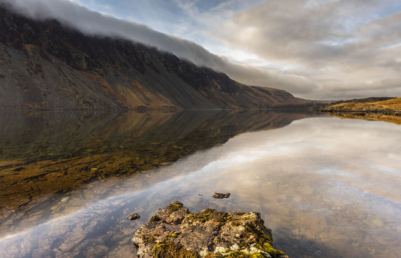 Wasdale reflections on a stunning spring morning Callander Calm Cloud Inversion Cumbria England UK Deep Water Lake District Mirror Moody Sky Peace Postcard Reflection Travel Weather Brochure Clouds Island Landscape Mountain No People Season  Spring Still Water Tourism Wasdale Wast Water