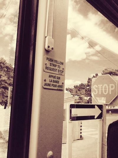 L'usage du français au Canada: quelquechose de tendrement approximatif. 🍁 Bus Coach Emergency Exit Safety Tool Spellingfail French Lostintranslation Stopsign Sepia_collection Hello World French Canadian Clouds And Sky Orthographie Orthograph Lost In Translation Up Close Street Photography Showing Imperfection The Photojournalist - 2016 EyeEm Awards My Commute