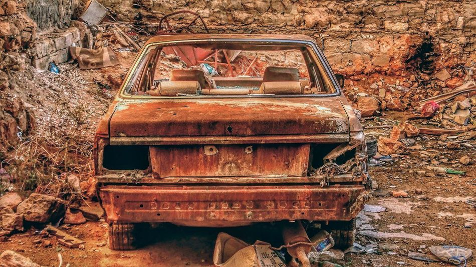 Metal Bad Condition Benghazi Libya No People Day Transportation Outdoors Old Car
