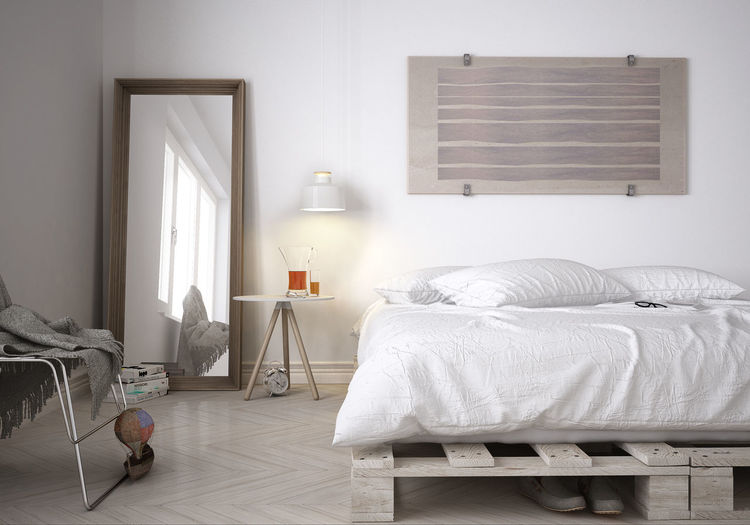 Architecture Bed Bedroom Day Domestic Life Home Interior Home Showcase Interior Indoors  Mirror Modern No People Pallet White Window First Eyeem Photo