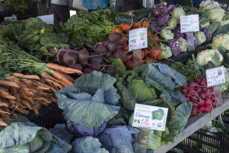 Variety of vegetables for sale in market
