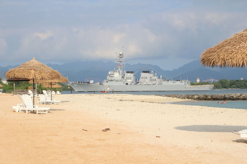 Beach Clouds Hawaii Majestic' Navy Pearl Harbor Seascape Ship Shore Umbrella US Navy Warship