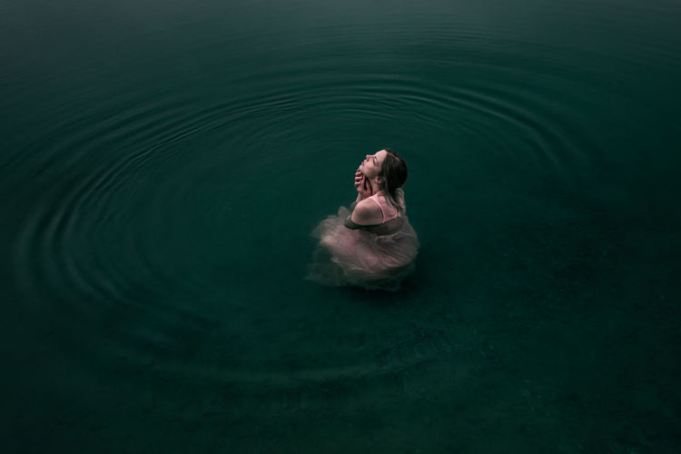 Floating 10-18mm Dress Fine Art Photography Natural Beauty Natural Light Blue Canon Canon EOS 750D Female Fine Art Floating On Water Lake Light Pink Nature Outdoors Sensual_woman Simplicity Swimming Vintage Water Woman In Water The Creative - 2018 EyeEm Awards