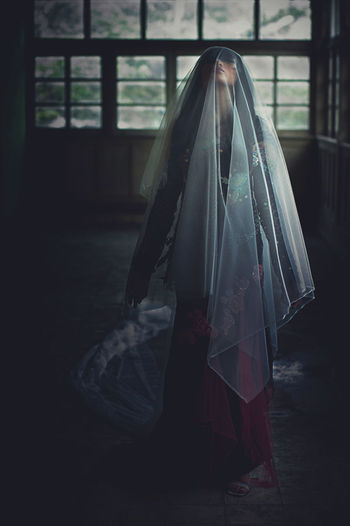potrait of standing woman with fabric Real People One Person Women Indoors  Window Clothing Lifestyles Traditional Clothing Adult Standing Celebration Full Length Architecture Day Built Structure Religion Building Covering Veil Analogue Sound My Best Photo