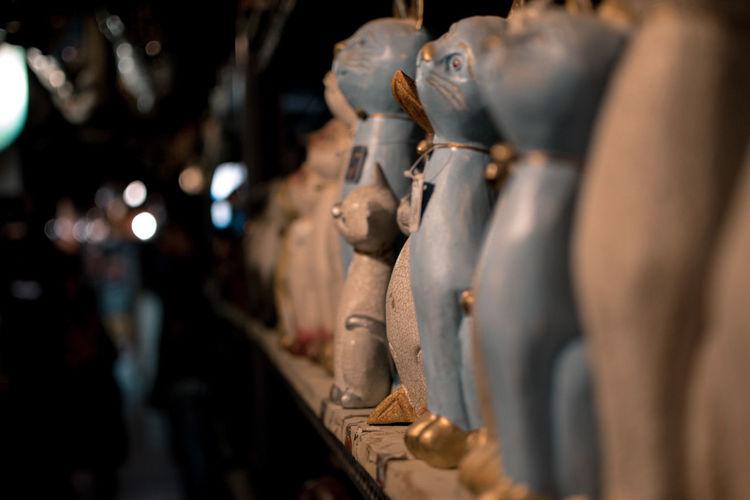 Close-up of sculptures for sale