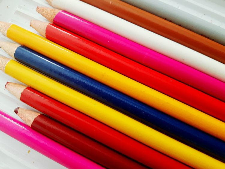 Multi Colored Variation Colored Pencil Backgrounds Choice No People Red Close-up Indoors  Crayon Full Frame Day Kredki Arts Arts And Crafts