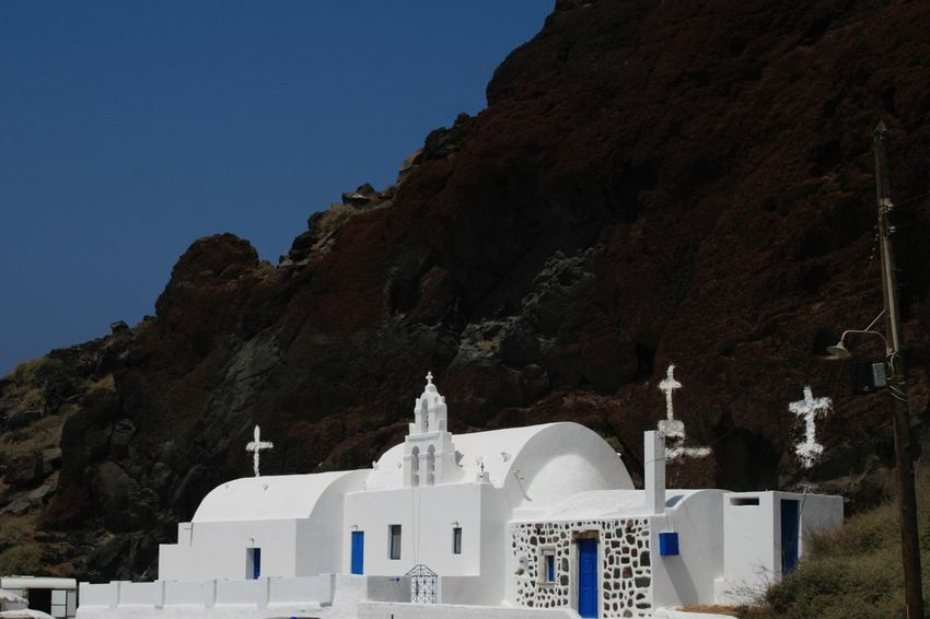 Churches of Santorini 🇬🇷 02 Religion Architecture Place Of Worship Built Structure Dome Mountain Spirituality No People Building Exterior Scenics Outdoors Nature Cultures Day Canon400d Canonphotography Vacations Churches Santorini, Greece Sky Nature