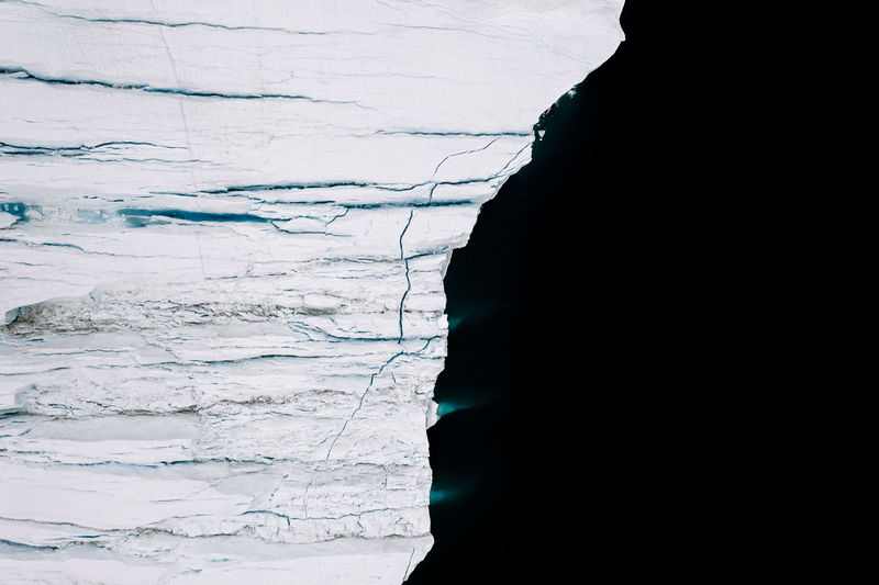 High Angle View Of Glacier In Sea