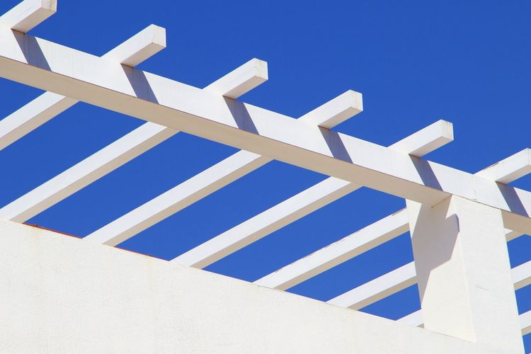 Abstract Architecture Background Blue Building Building Exterior Built Structure Clear Sky Close-up Day Full Frame Low Angle View No People Outdoors Pattern Sky Sunlight White Color