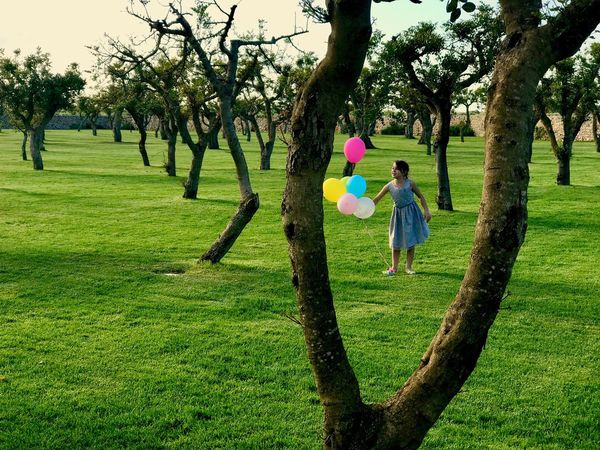Grass Nature Tree Outdoors One Girl Only Happiness Balloon Beauty In Nature Lifestyles Fun