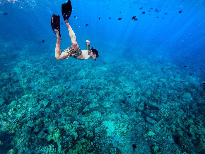 Full length of man swimming in sea