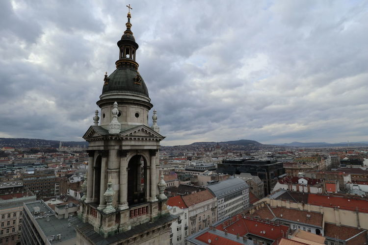 Selected For Premium Budapest Church Hungary Szent István-bazilika Travel Architecture City Cityscape Cloud - Sky High Angle View History Sky Tower