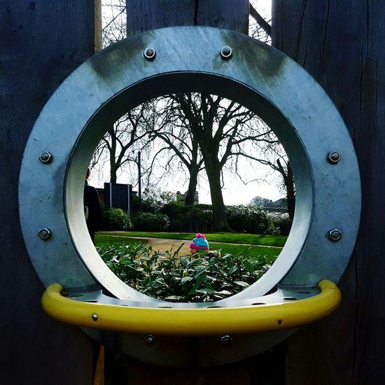 Circle Looking Through Bobble Hat  Playground