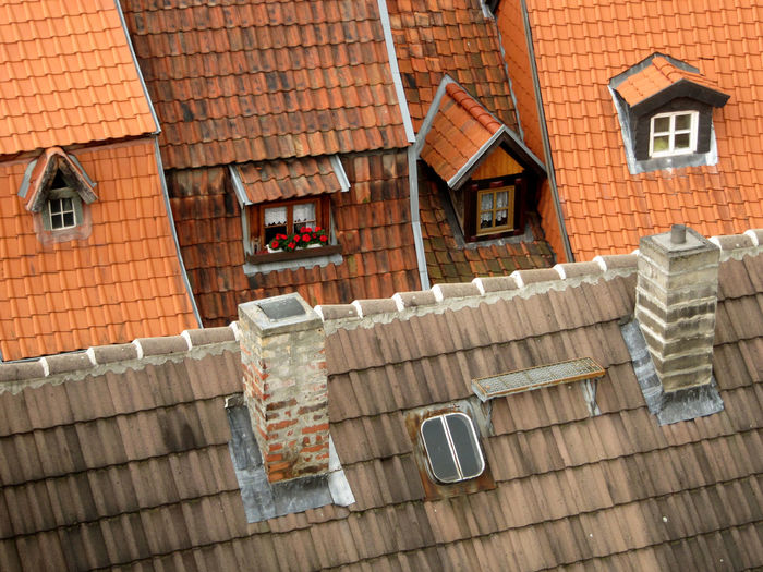 Architecture Chimneys Germany Old Houses Old Town Quedlinburg Rooftops Windows