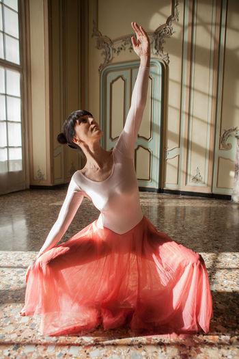 Ballerina practicing in studio
