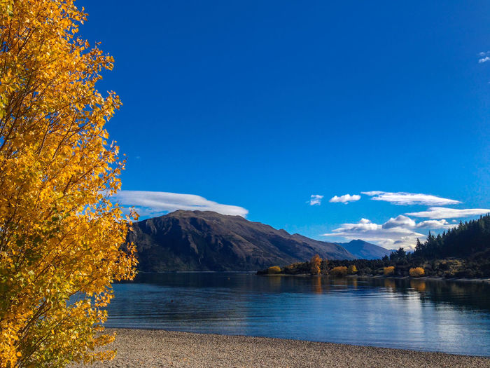 Scenic View Of Lake Against Blue Sky During Autumn