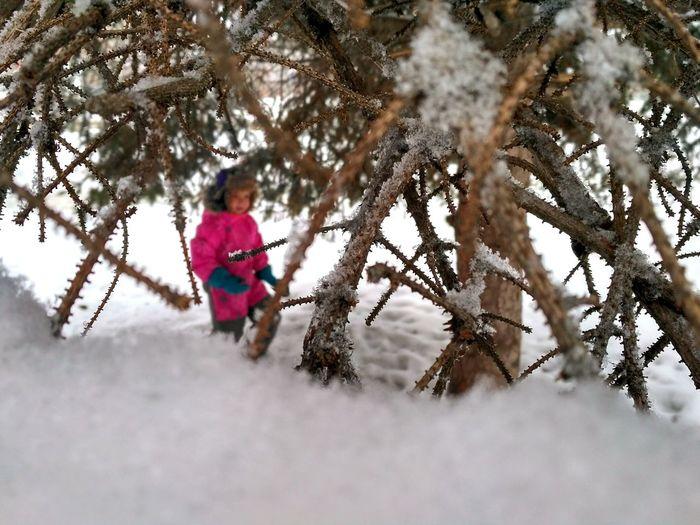 Child Winter Cold Temperature Tree Snow Girls Childhood Day Children Only Самара самаялюбимая EyeEmNewHere