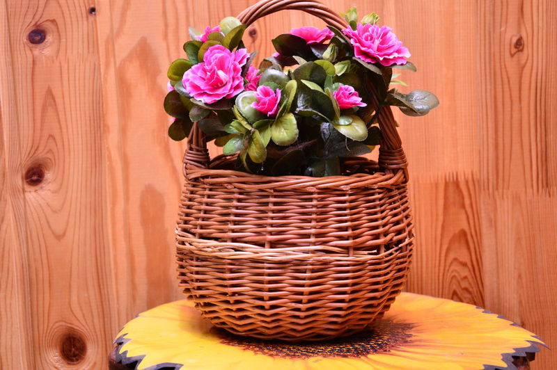 Close-up of pink flowers in basket on wooden table