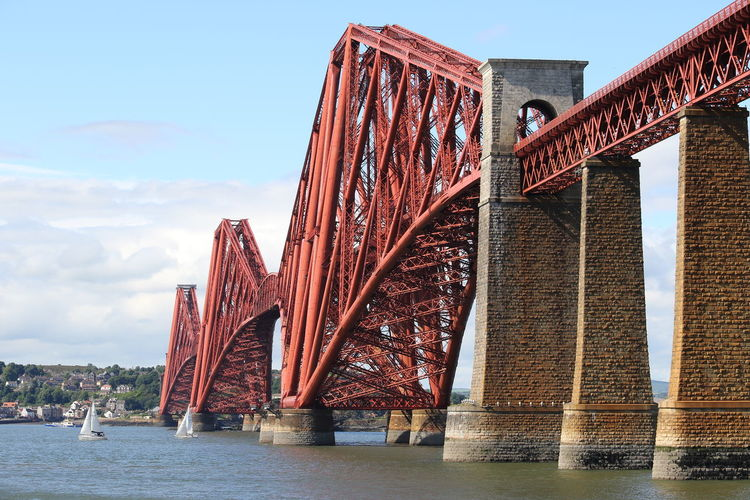 EyeEm Selects Water Sky No People Day Outdoors Bridges Bridge View Forth Bridge Transportation Edinburgh Travel Scotland Shore Architecture Built Structure Bridge - Man Made Structure Construction Frame Steel Industry Train Shoreline Sea Water's Edge