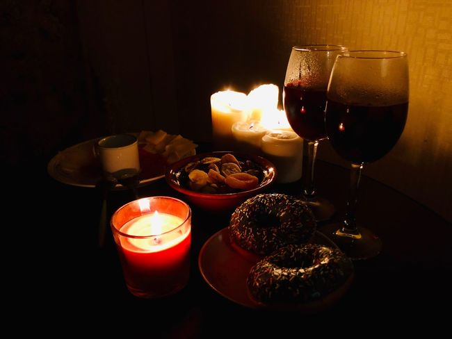 Food And Drink Glass Refreshment Drink Alcohol Wineglass Candle Food Indoors  Drinking Glass Burning Table