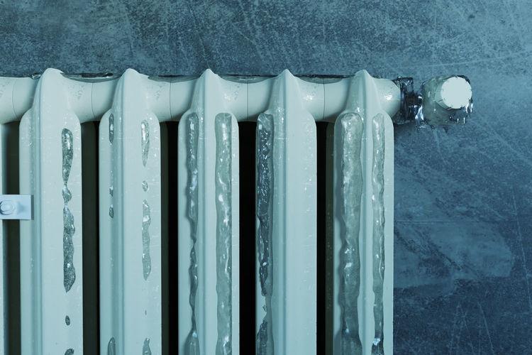 Close-up of frozen radiator