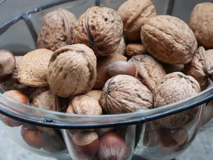 Close-up of nuts in bowl on table