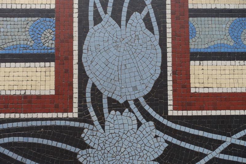 Mosaic Art Mosaik Jugendstil Fussboden Decorative Floor Details Innenaufnahme Indoor Photography Communication Text Close-up