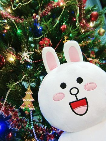 Took some photo with my Cony Plushie after decorating the Christmas Tree 🙌 Christmas Decorations Cute Toys NaverLine Linefriends at Surabaya