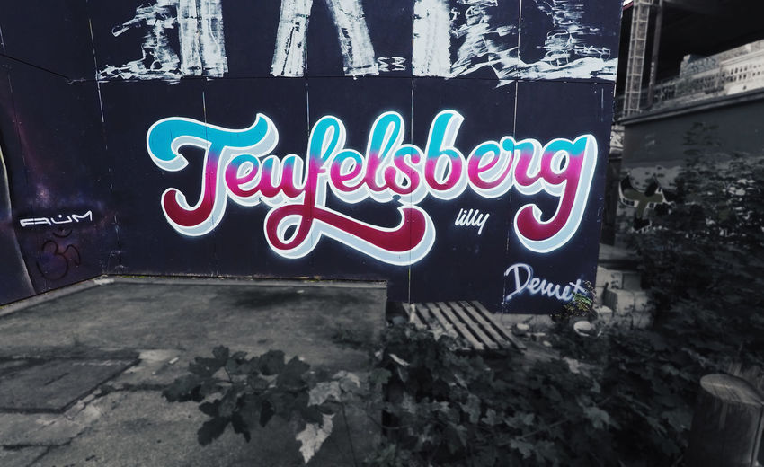 A Photo which I took some years ago at the Teufelsberg in Berlin and now edited. The credit for the graffiti itself goes to the respective owner of it. Text Neon Graffiti Outdoors No People Teufelsberg Teufelsberg Berlin Edited My Way Black And White Bright Colors