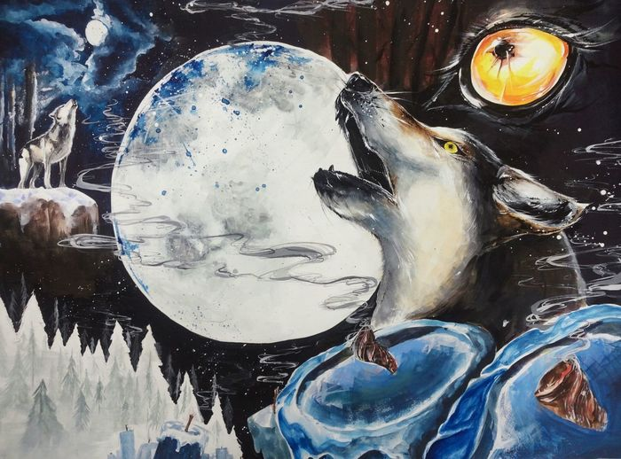 Wolf Howling At The Moon Painting Howling